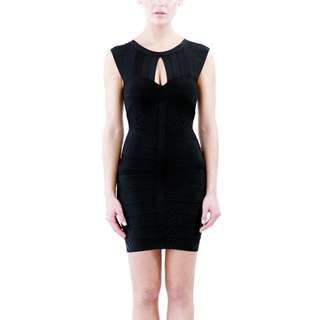 Black Key Hole Bandage Dress