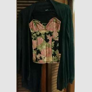 Talula Bustier Top + Long Sleeve Flowly Cardigan