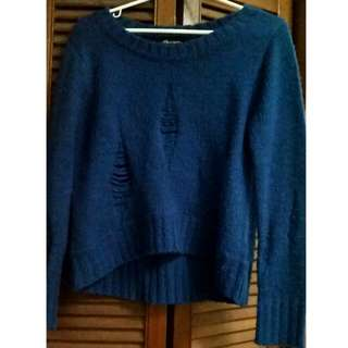 Blue Long Sleeve Sweater With Rips