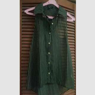 Army Green Striped Chiffon Sleeveless Shirt