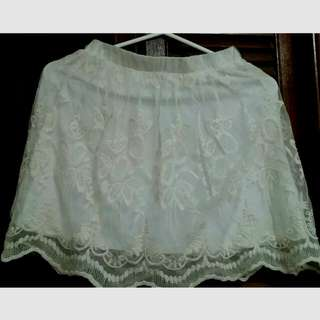 Garage Off-white/Ivory Embroidered Skirt