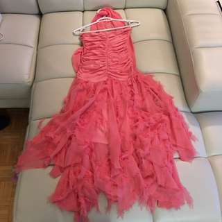 Prom Dress!! Fitted Pink With Feathered Bottom