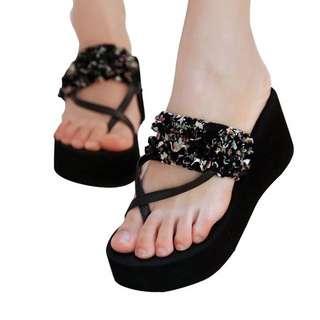 Brand New Platform Flip Flops In Black