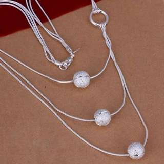 Sterling silver Three Sand Bead Necklace