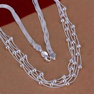 Sterling silver Five Line friendship Necklace