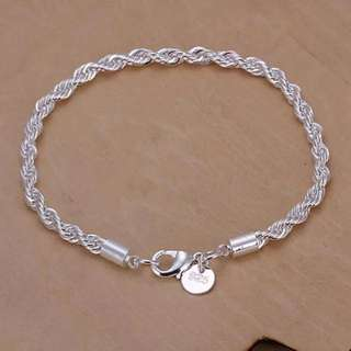 UNISEX Sterling silver twisted chain bracelet