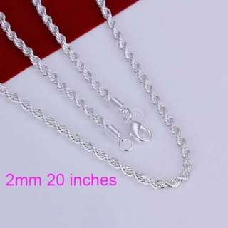 UNISEX Sterling silver Twisted chain necklace