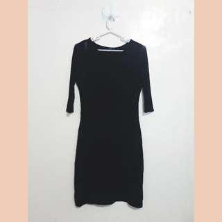 Partial See-thru Black Dress