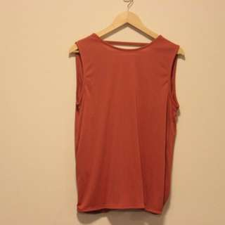 ASOS Sleeveless Crepe Top with Lace Back - Size 10 Rust Orange