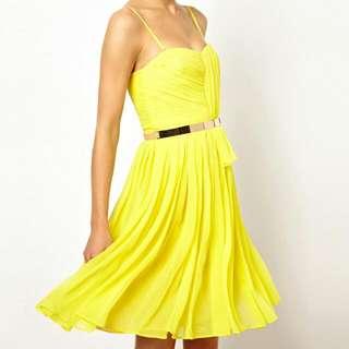 Mango Chiffon Bustier Yellow Dress