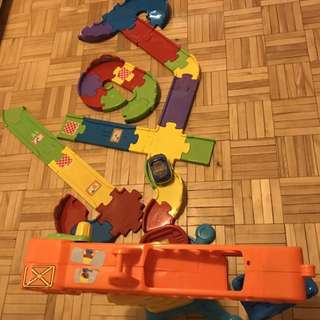 Orange and yellow toy train for sale