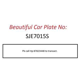 Beautiful Car Plate Number for Sale - SJE7015S