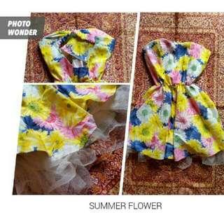 Dress Bunga Dengan Cup Bra (Buy One Get One Free, Boleh Barter)