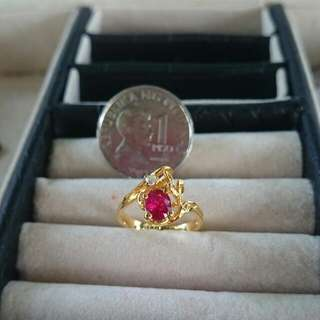 14K Gold 1 Pink Sapphire and 1 Diamond Chip Ring LAYAWAY OK 2.6G appx.