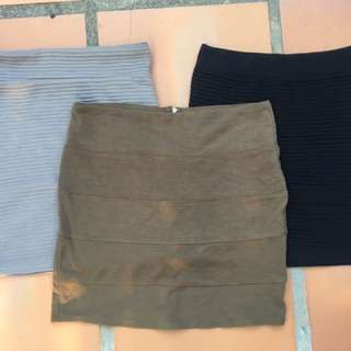 3 x Bodycon Skirts Black Khaki And Grey