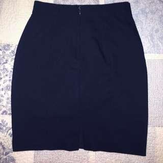H&M Dark Navy Blue Midi Skirt