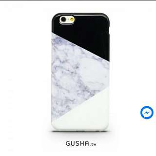 [全新] GUSHA iphone6 軟殼 手機殼 黑臉貓 大理石