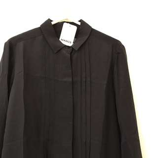 Marc's- Brand New Elegant Lady Blouse In Black, Size 10 Medium . Well Packed With Gift Box