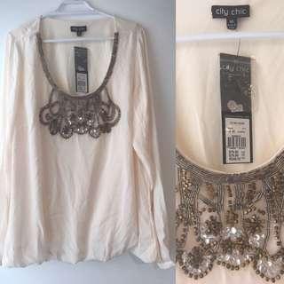 City Chic Plus Size Xs White Blouse