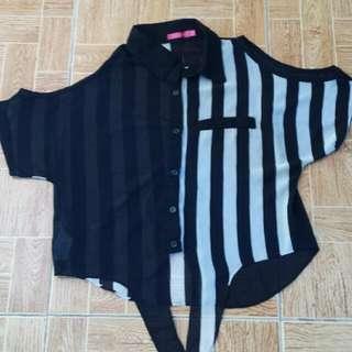 Black Stripe See Trough Blouse