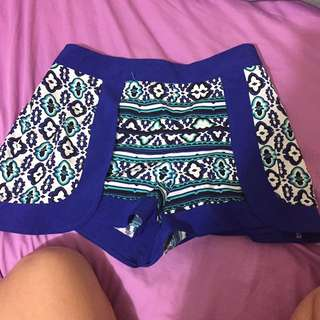 High Waisted Aztec Shorts Size XS/S