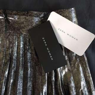 Zara Shiny Maxi Pleat Skirt Sz XS