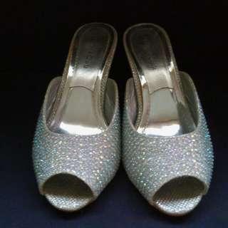 glitter open toe slip on sandals