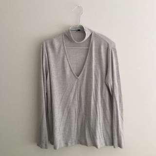 Kookai choker long sleeve top knit grey