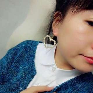 珍珠愛心耳環