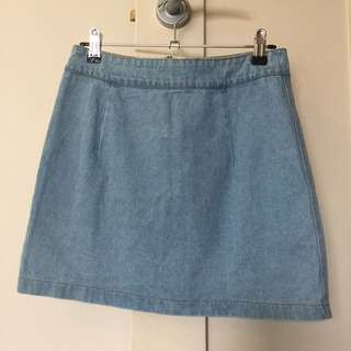 Zip Up Denim Skirt