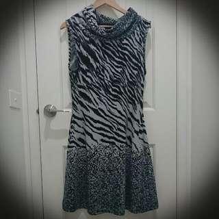 Tiger Leopard Print Dress Grey/Black
