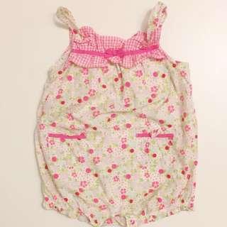 女嬰幼童裝 小碎花肩帶可愛包屁衣