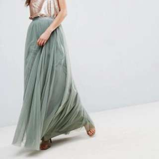 Green Tulle Maxi Skirt