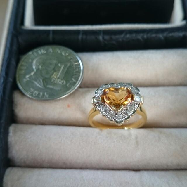 14K Gold Heart Citrine Ring LAYAWAY OK 4.5G appx. 13 Diamond Chips