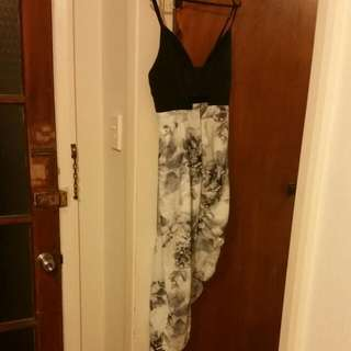 Dress Grey Floral And Black
