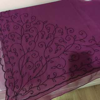 Elegant maroon purple beaded square scarves/ bawal