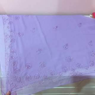 Elegant pastel purple beaded square scarves/ bawal