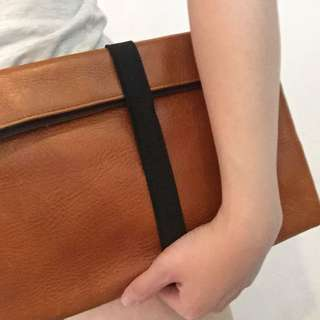 Authentic Brown Leather Clutch