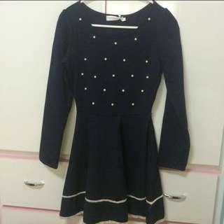 (含運)深藍色洋裝 #專賣OB #含運