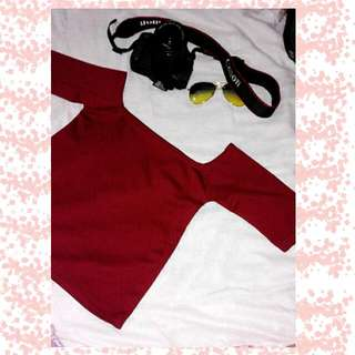 Off Shoulder Fitted Maroon Blouse