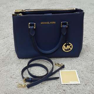 Tas Michael Kors Sutton Double Zip Navy (Ori)