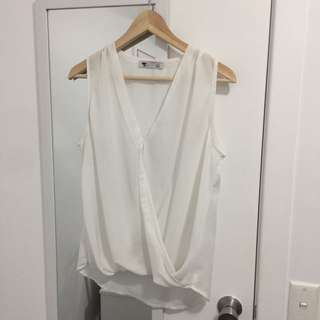 White Crossover Sleeveless Blouse Shirt