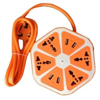 All In One Travel Adapter Extension Cord With 4 Universal Sockets And 4 Usb Ports