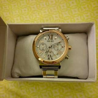 (情人節最佳禮物)全新SEIKO Lukia三眼錶系列新製品(玫瑰金雙色配色)
