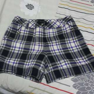 毛料格子短褲