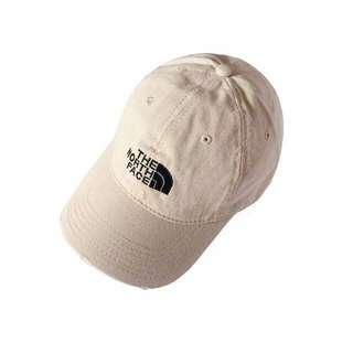 日本正版 THE North Face Original logo Cap 經典黑色電繡Logo 米白色水洗作舊老帽