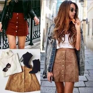 Brown Suede Feel Skirt