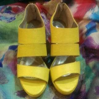 美麗的黃色 真皮訂制鞋