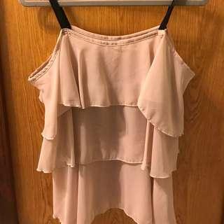 全新 粉膚色荷葉細肩帶背心