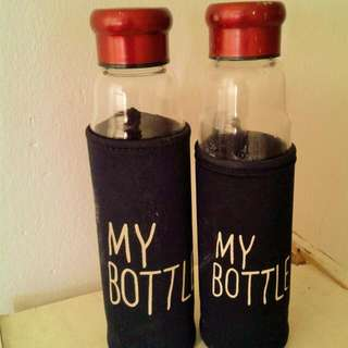 2 X Glass Drinking Bottle With Coffee / Tea Filter
